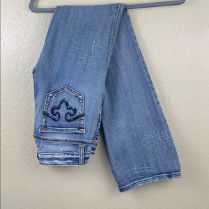 Rerock for Express Boot Jeans 2R Light Blue Denim
